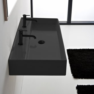 Bathroom Sink Matte Black Ceramic Trough Wall Mounted or Vessel Sink Scarabeo 8031/R-120B-49