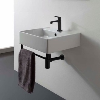 Bathroom Sink Square Wall Mounted Ceramic Sink With Matte Black Towel Bar Scarabeo 8031/R-40-TB-BLK