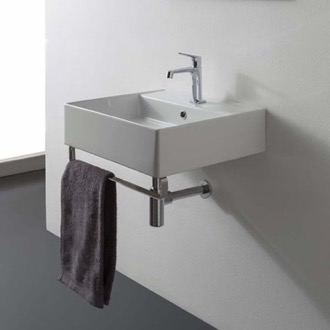 Bathroom Sink Square Wall Mounted Ceramic Sink With Polished Chrome Towel Bar Scarabeo 8031/R-40-TB