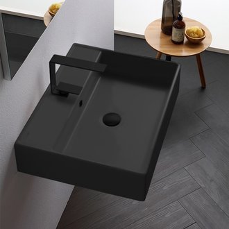 Bathroom Sink Rectangular Matte Black Ceramic Wall Mounted or Vessel Sink Scarabeo 8031/R-60-49
