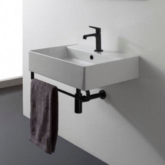 Bathroom Sink Square Wall Mounted Ceramic Sink With Matte Black Towel Bar Scarabeo 8031/R-TB-BLK
