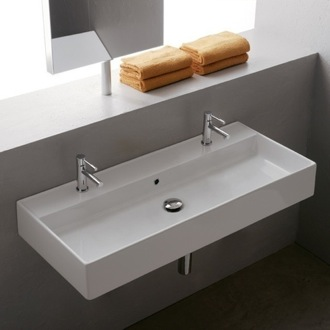 Bathroom Sink Trough Ceramic Wall Mounted or Vessel Sink Scarabeo 8031/R-100B