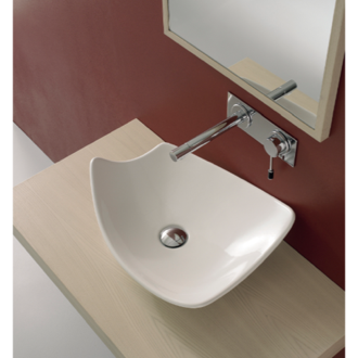 Bathroom Sink Rectangular White Ceramic Vessel Sink Scarabeo 8051