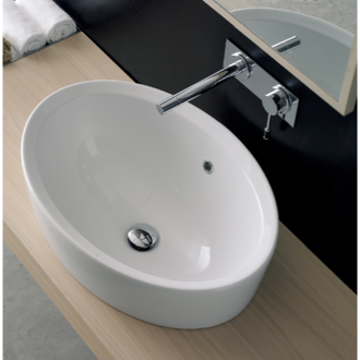 Bathroom Sink Oval-Shaped White Ceramic Drop In Sink Scarabeo 8056/A