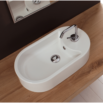 Bathroom Sink Oval-Shaped White Ceramic Vessel Sink Scarabeo 8093