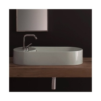 Bathroom Sink Oval-Shaped White Ceramic Vessel Sink Scarabeo 8094