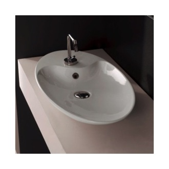 Bathroom Sink Oval-Shaped White Ceramic Vessel Sink Scarabeo 8097