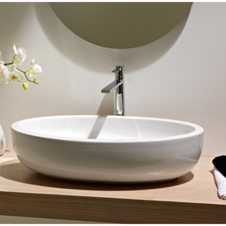 Bathroom Sink Oval Shaped White Ceramic Vessel Bathroom Sink Scarabeo 8111