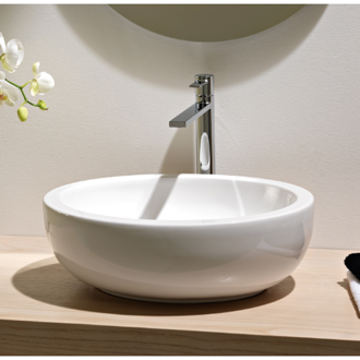 Bathroom Sink Oval Shaped White Ceramic Vessel Bathroom Sink Scarabeo 8112