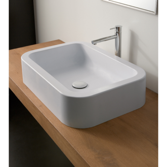 Bathroom Sink Rectangular White Ceramic Vessel Bathroom Sink Scarabeo 8307