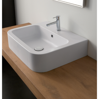 Bathroom Sink White Ceramic Vessel or Wall Mounted Bathroom Sink Scarabeo 8308