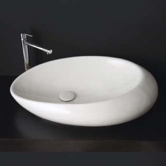 Bathroom Sink Oval Shaped White Ceramic Vessel Bathroom Sink Scarabeo 8601