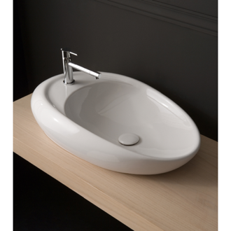 Bathroom Sink Oval Shaped White Ceramic Vessel Bathroom Sink Scarabeo 8602