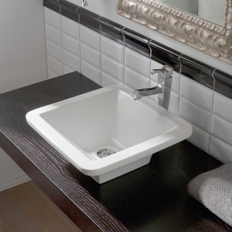 Bathroom Sink Square White Ceramic Vessel Sink Scarabeo 4001
