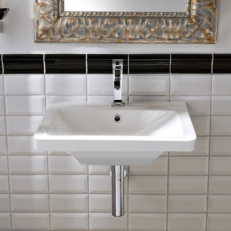 Bathroom Sink Rectangular White Ceramic Wall-Mounted or Vessel Sink Scarabeo 4003