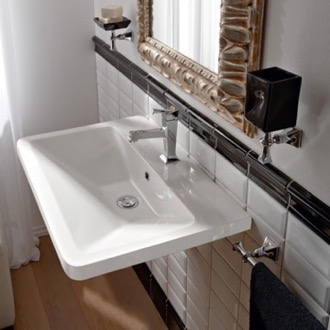 Bathroom Sink Rectangular White Ceramic Wall-Mounted or Vessel Sink Scarabeo 4004