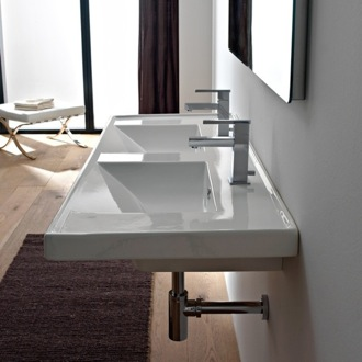 Bathroom Sink Rectangular Double White Ceramic Drop In or Wall Mounted Bathroom Sink Scarabeo 3006