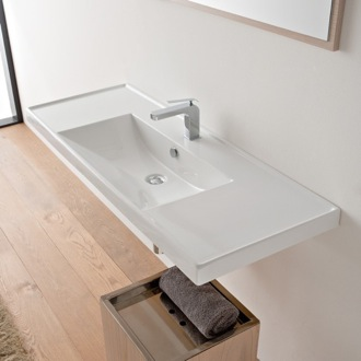 Bathroom Sink Rectangular White Ceramic Drop In or Wall Mounted Bathroom Sink Scarabeo 3007