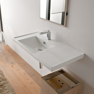 Bathroom Sink Rectangular White Ceramic Drop In or Wall Mounted Bathroom Sink Scarabeo 3008