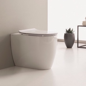 Toilet Round White Ceramic Floor Mount Toilet Scarabeo 5522