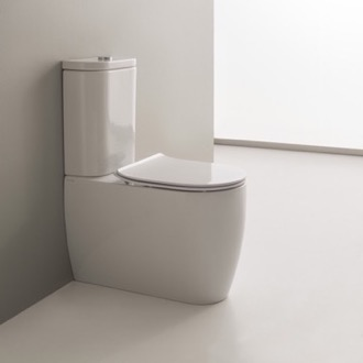 Toilet Round White Ceramic Floor Toilet Scarabeo 5526