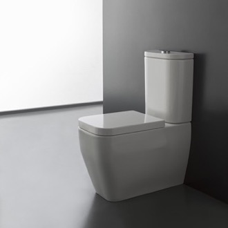 Toilet Round White Ceramic Floor Toilet Scarabeo 8311