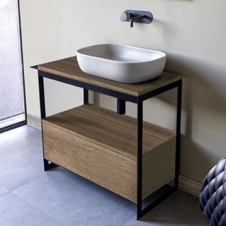 Console Bathroom Vanity Console Sink Vanity With Ceramic Vessel Sink and Natural Brown Oak Drawer Scarabeo 1804-SOL3-89