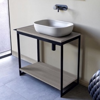 Console Bathroom Vanity Console Sink Vanity With Ceramic Vessel Sink and Grey Oak Shelf Scarabeo 1804-SOL4-88