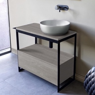 Console Bathroom Vanity Console Sink Vanity With Ceramic Vessel Sink and Grey Oak Drawer Scarabeo 1807-SOL3-88
