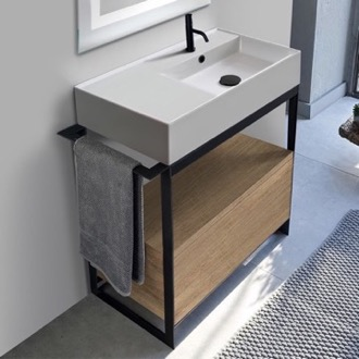 Console Bathroom Vanity Console Sink Vanity With Ceramic Sink and Natural Brown Oak Drawer Scarabeo 5118-SOL1-89