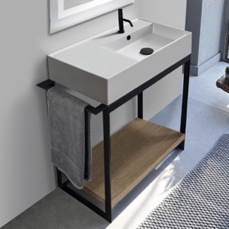 Console Bathroom Vanity Console Sink Vanity With Ceramic Sink and Natural Brown Oak Shelf Scarabeo 5118-SOL2-89