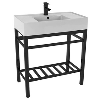 Bathroom Sink Modern Ceramic Console Sink With Counter Space and Matte Black Base Scarabeo 5123-CON2-BLK