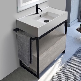Console Bathroom Vanity Console Sink Vanity With Ceramic Sink and Grey Oak Drawer Scarabeo 5123-SOL1-88