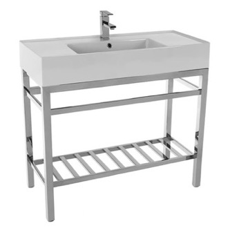Bathroom Sink Modern Ceramic Console Sink With Counter Space and Chrome Base Scarabeo 5124-CON2