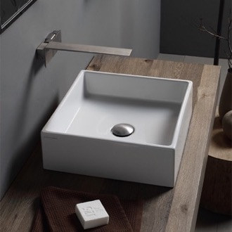 Bathroom Sink Square White Ceramic Vessel Sink Scarabeo 8031