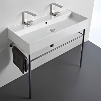 Bathroom Sink Large Double Ceramic Console Sink and Polished Chrome Stand Scarabeo 8031/R-100B-CON