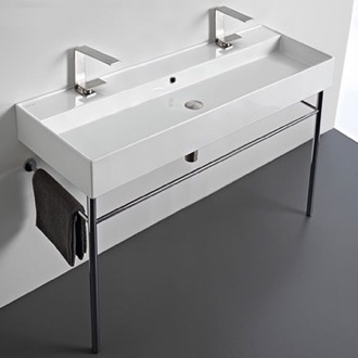 Bathroom Sink Large Double Ceramic Console Sink and Polished Chrome Stand Scarabeo 8031/R-120B-CON