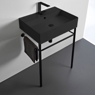 Bathroom Sink Matte Black Ceramic Console Sink and Matte Black Stand Scarabeo 8031/R-60-49-CON-BLK