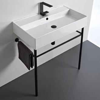 Bathroom Sink Ceramic Console Sink and Matte Black Stand Scarabeo 8031/R-80-CON-BLK