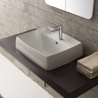 Bathroom Sink Square White Ceramic Drop In Sink Scarabeo 1001