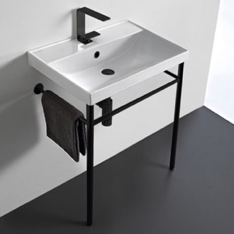 Bathroom Sink Ceramic Console Sink and Matte Black Stand Scarabeo 3004-CON-BLK