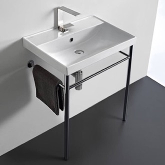 Bathroom Sink Rectangular Ceramic Console Sink and Polished Chrome Stand Scarabeo 3004-CON