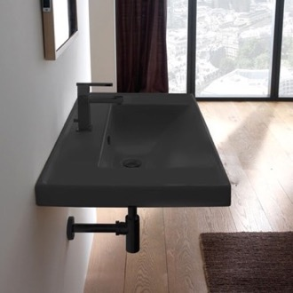 Bathroom Sink Rectangular Matte Black Ceramic Wall Mounted Bathroom Sink Scarabeo 3005-49