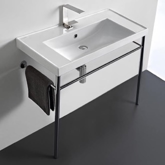 Bathroom Sink Rectangular Ceramic Console Sink and Polished Chrome Stand Scarabeo 3005-CON