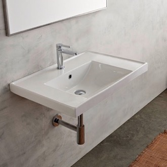 Bathroom Sink Rectangular White Ceramic Drop In or Wall Mounted Bathroom Sink Scarabeo 3005