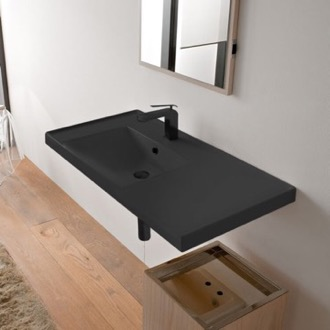 Bathroom Sink Rectangular Matte Black Ceramic Wall Mounted Bathroom Sink Scarabeo 3008-49