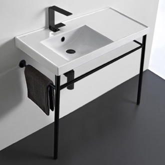 Bathroom Sink Rectangular Ceramic Console Sink and Matte Black Stand Scarabeo 3008-CON-BLK