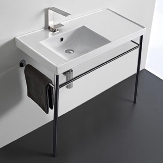 Bathroom Sink Rectangular Ceramic Console Sink and Polished Chrome Stand Scarabeo 3008-CON