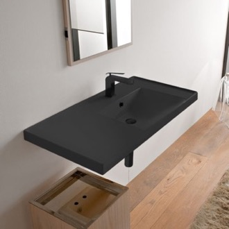 Bathroom Sink Rectangular Matte Black Ceramic Wall Mounted Bathroom Sink Scarabeo 3009-49