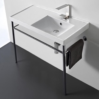 Bathroom Sink Rectangular Ceramic Console Sink and Polished Chrome Stand Scarabeo 3009-CON